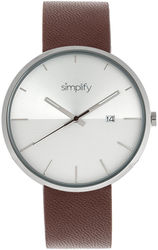 Simplify The 6400 Leather-Band Watch w/Date - Silver-Tone/Brown