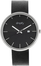 Simplify The 6400 Leather-Band Watch w/Date - Silver-Tone/Black