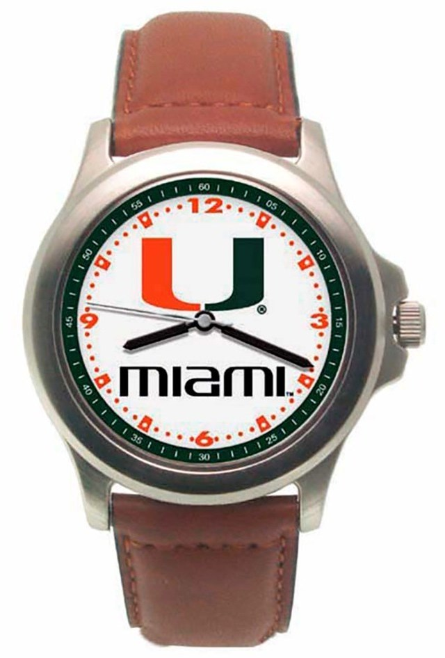 University Of Miami Rookie Leather Mens Watch by LogoArt