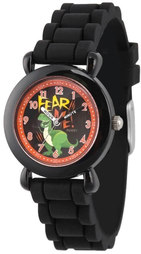 Disney Kids Toy Story Rex Time Teacher Black Silicone Band Watch