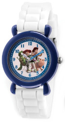 Disney Kids Toy Story Time Teacher Blue/White Silicone Band Watch