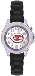 Youth MLB Cincinnati Reds Flash Black Strap Watch