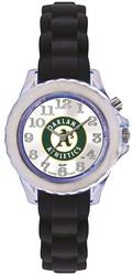Youth MLB Oakland Athletics Flash Black Strap Watch