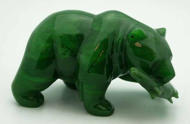 Jade Grizzly Bear With Fish Figurine