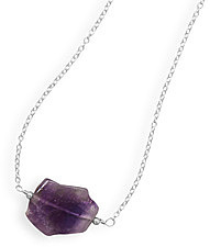 Handmade Amethyst Slice Necklace 925 Sterling Silver - LIMITED STOCK
