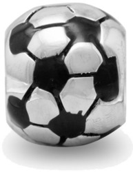 Soccer Ball Bead 925 Sterling Silver - LIMITED STOCK