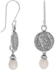 Coined Pearl Earrings 925 Sterling Silver