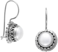 Handmade Oxidized Cultured Freshwater Pearl Earrings with Dot Edge 925 Sterling Silver