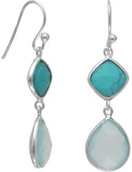 Turquoise and Sea Green Chalcedony Drop Earrings 925 Sterling Silver