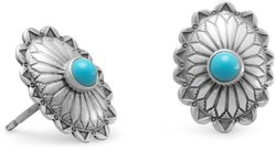 Oxidized Turquoise Concho Stud Earrings 925 Sterling Silver