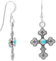 Oxidized Cross Earrings with Turquoise Center 925 Sterling Silver