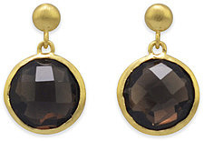 18 Karat Gold Plated Smoky Quartz Drop Earrings 925 Sterling Silver - CLEARANCE