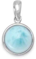 Rhodium Plated Round Larimar Pendant 925 Sterling Silver