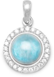 Rhodium Plated Round Larimar and CZ Pendant 925 Sterling Silver