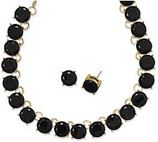Midnight Beauty Fashion Necklace and Earring Set with Black Glass - LIMITED STOCK