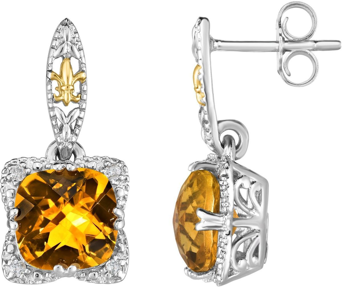 Phillip Gavriel - 18K Yellow Gold & Rhodium Plated Sterling Silver Drop Earrings w/ 0.08ctw Diamond & 8mm Cushion Citrine
