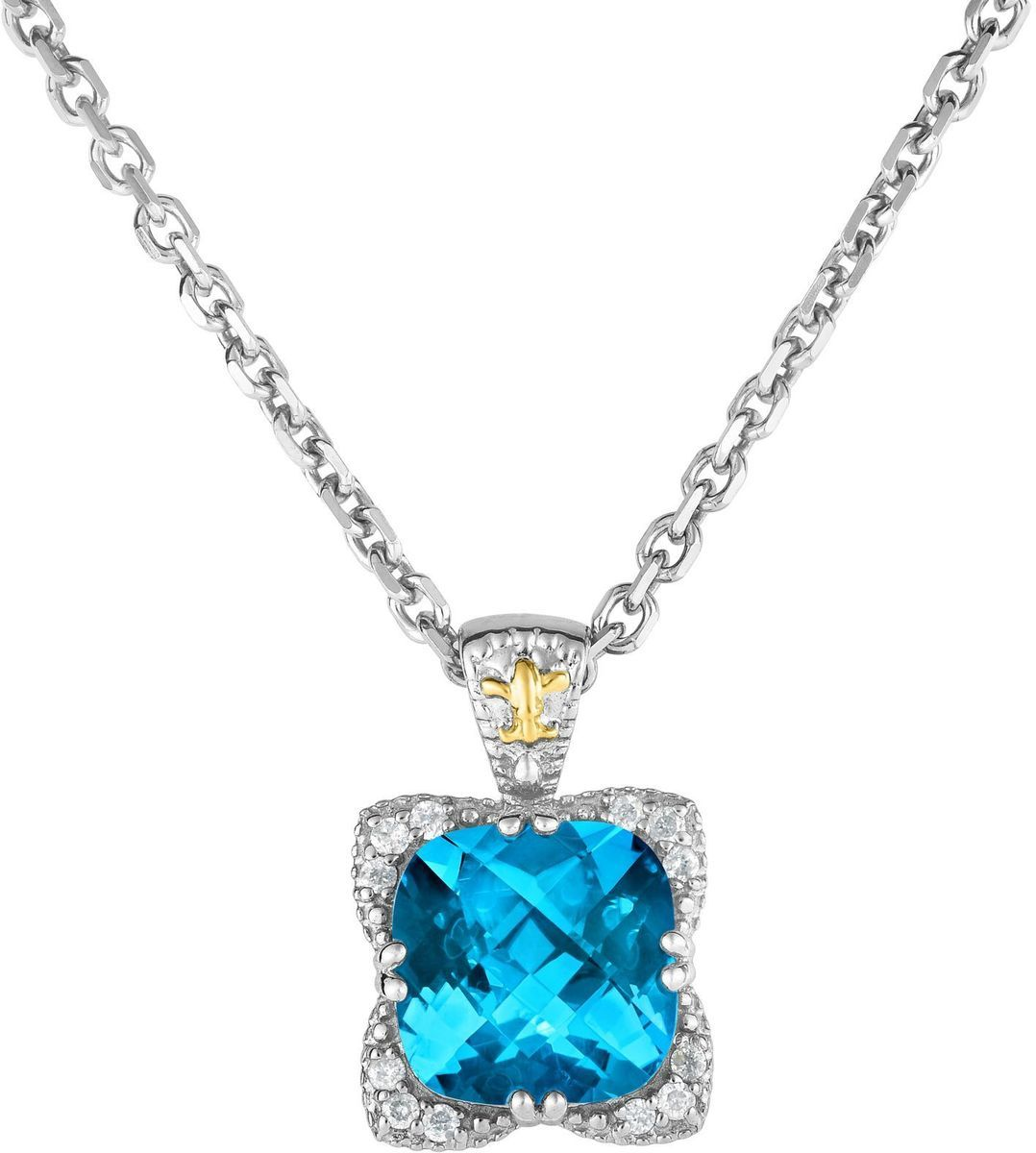 "Phillip Gavriel - 18"" Link Necklace w/ 18K Yellow Gold & Sterling Silver Fleur-de-lis Design Pendant w/ 0.12ctw Diamond & 10mm Light Swiss Blue Topaz"