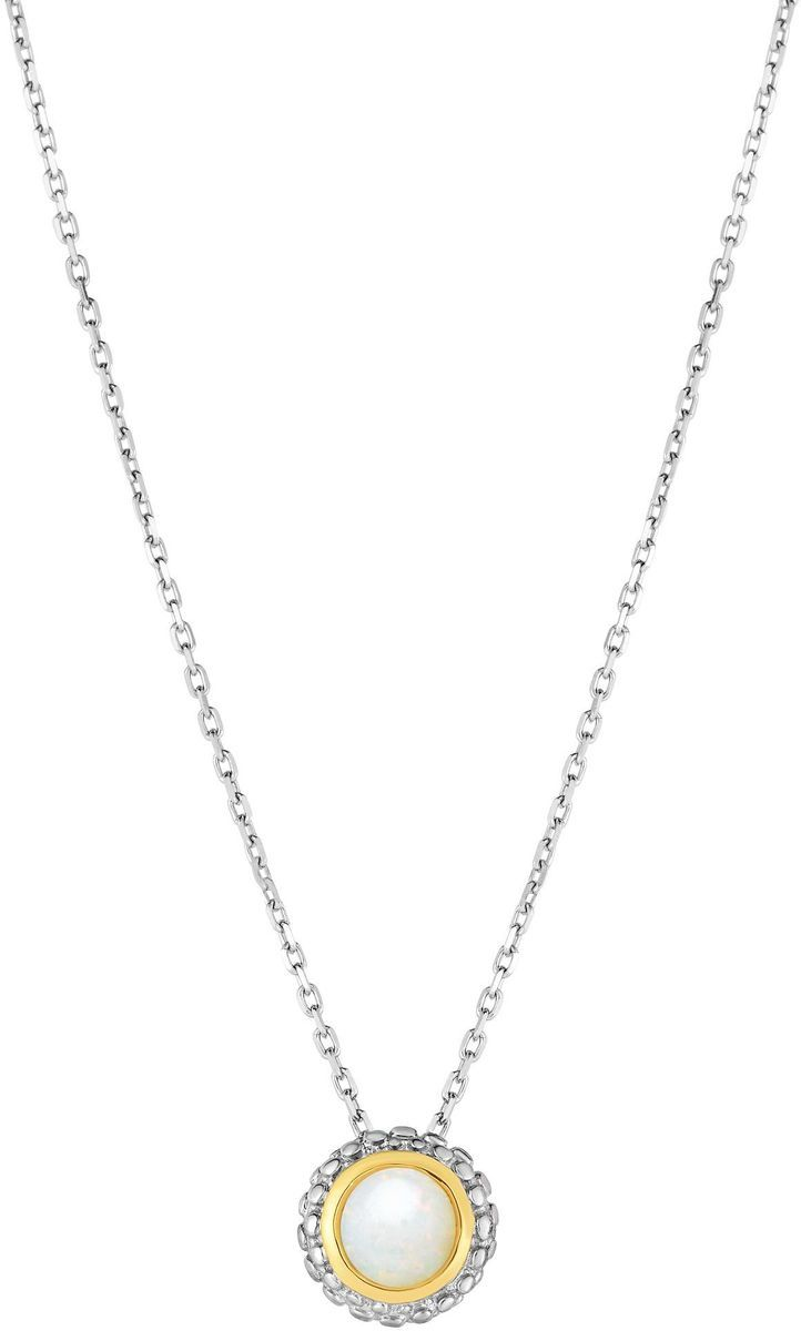 "Phillip Gavriel - 18"" 0.8mm Cable Chain Necklace w/ 18K Yellow Gold & Sterling Silver Round Pendant w/ 0.25ctw Milky Opal"
