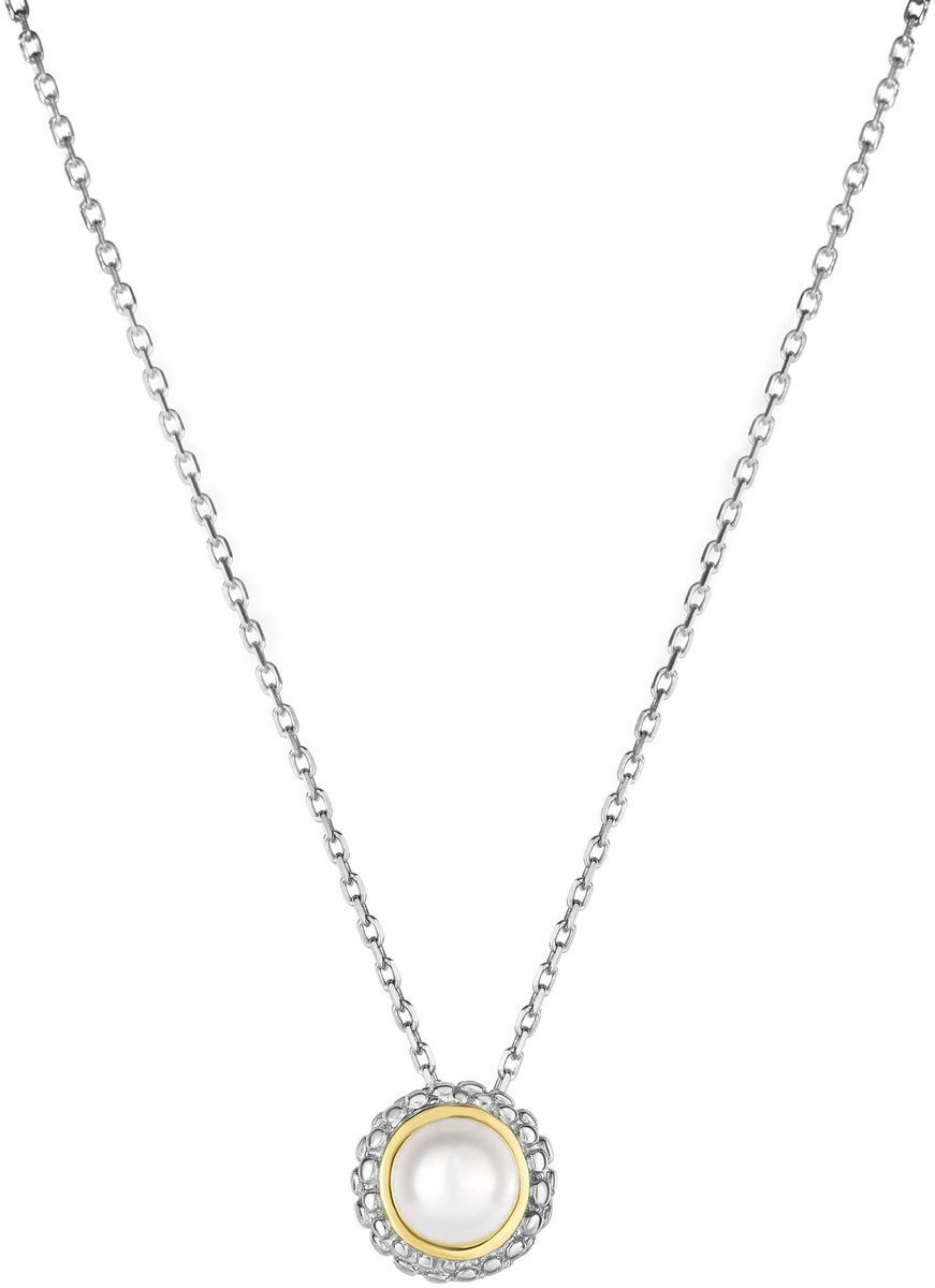 "Phillip Gavriel - 18"" 0.8mm Cable Chain Necklace w/ 18K Yellow Gold & Sterling Silver Round Pendant w/ 4.5-5mm Cultured Freshwater Pearl"