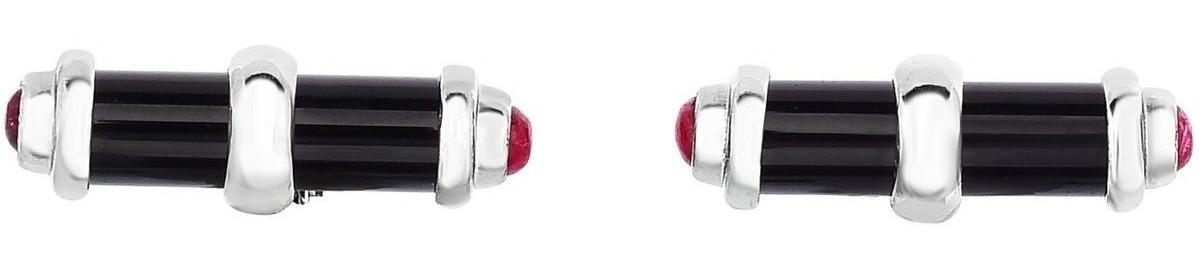 Phillip Gavriel - 22x7mm Rhodium Plated Sterling Silver Cylinder Shaped Cuff Links w/ 5.0ct. Simulated Lapis & Synthetic Ruby