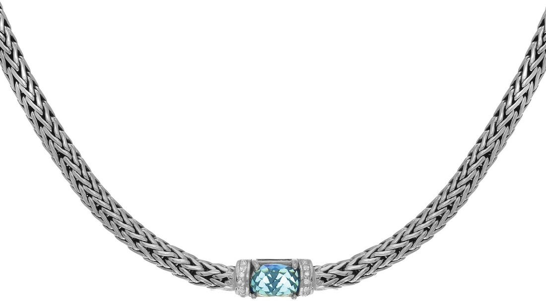 "Phillip Gavriel - 18"" 7x4mm Sterling Silver Dome Weave Necklace w/ 9x11mm Blue Topaz & 1.6mm White Synthetic Sapphire"