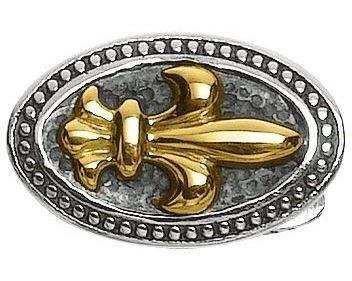 Phillip Gavriel - 18K Yellow Gold & Sterling Silver Oval Fleur De Lis Cuff Links