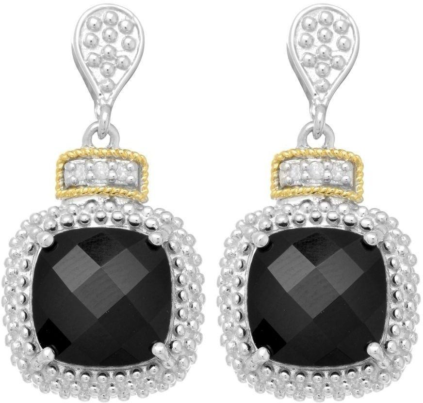 Phillip Gavriel - 18K Yellow Gold & Silver w/ Rhodium Finish Drop Earrings w/ 2-10.0 Square Black Onyx & 6-0.01ct Faceted White Diamonds