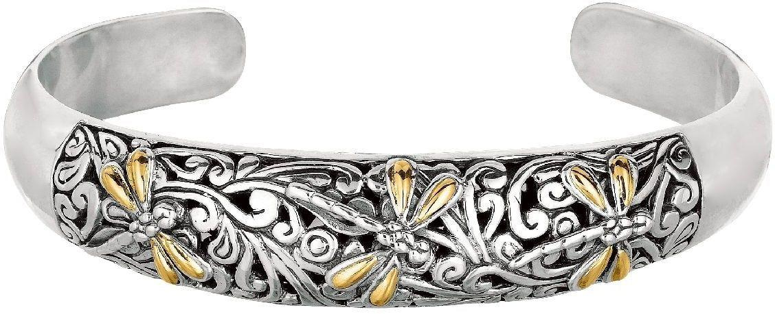 Phillip Gavriel - 18K Yellow Gold & Sterling Silver Oxidized Dragonfly Domed Cuff Bracelet