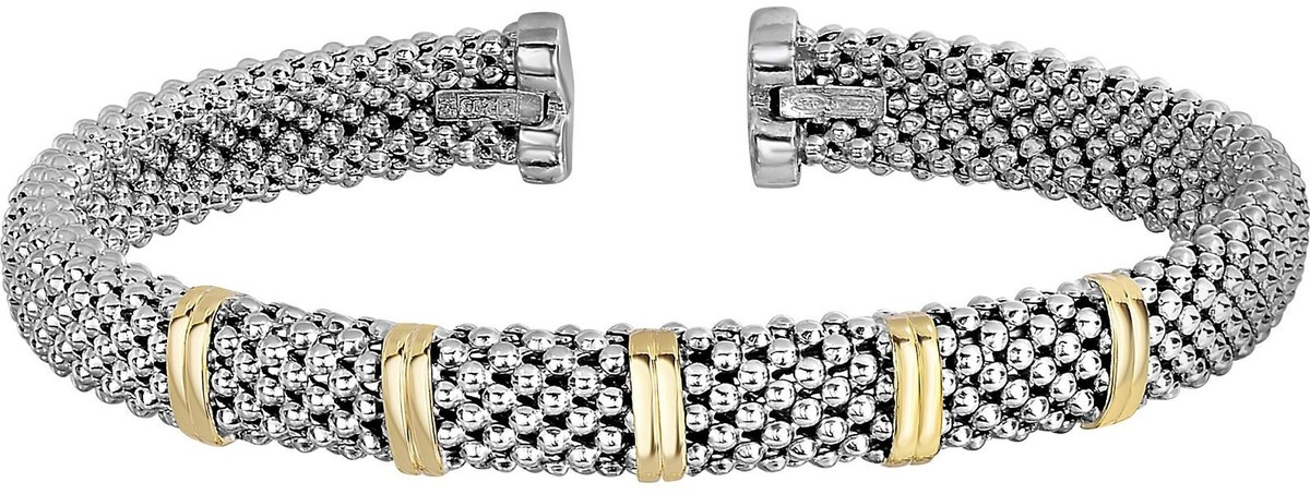 Phillip Gavriel - 7mm 18K Yellow Gold & Rhodium Plated Sterling Silver Popcorn Cuff Bracelet w/ 5 Gold Elements