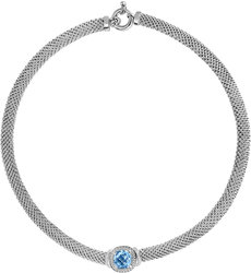 Phillip Gavriel - 17 8mm Rhodium Plated Sterling Silver Popcorn Necklace w/ 0.11ctw Diamond & 5.18ctw Cushion Blue Topaz