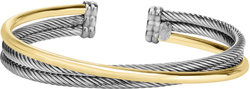 Phillip Gavriel - 2.5mm 18K Yellow Gold & Rhodium Plated Sterling Silver Triple Layer Twisted Cuff Bracelet