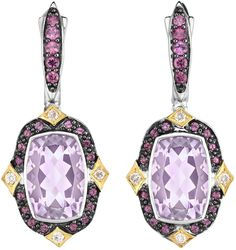 Phillip Gavriel - 18K Yellow Gold & Rhodium Plated Sterling Silver Drop Earrings w/ 0.15ctw Diamond, Cushion Pink Amethyst & Round Rhodolite Garnet