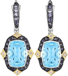 Phillip Gavriel - 18K Yellow Gold & Rhodium Plated Sterling Silver Drop Earrings w/ 0.15ctw Diamond, Cushion Sky Blue Topaz & Round Iolite