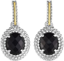 Phillip Gavriel - 18K Yellow Gold & Rhodium Plated Sterling Silver Textured Oval Drop Earrings w/ 7x9mm Oval Black Onyx