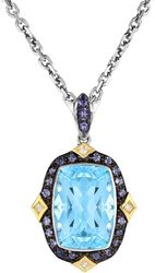 Phillip Gavriel - 18 1.9mm Necklace w/ 18K Yellow Gold & Sterling Silver Pendant w/ 7.13ctw Cushion Briolette Sky Blue Topaz, Iolite & Diamond
