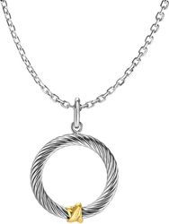 Phillip Gavriel - 18 1.9mm Link Necklace w/ 22x33mm 18K Yellow Gold & Sterling Silver Donut Pendant