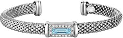 Phillip Gavriel - 7.7mm Rhodium Plated Sterling Silver Popcorn Cuff Bangle Bracelet w/ Blue Topaz & 0.16ct. Diamonds