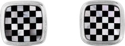 Phillip Gavriel - 15.5mm Rhodium Plated Sterling Silver Checkerboard Square Cuff Links w/ 5.0ct. White Mother Of Pearl & Black Agate