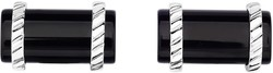 Phillip Gavriel - 22x13mm Rhodium Plated Sterling Silver Cylinder Shaped Cuff Links w/ 25ct. Black Agate