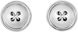 Phillip Gavriel - 17mm Rhodium Plated Sterling Silver Button Shaped Cuff Links