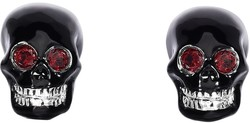 Phillip Gavriel - Rhodium Plated Sterling Silver Skull Shaped Cuff Links w/ Red Garnet