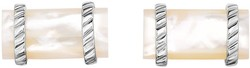 Phillip Gavriel - 22x13mm Rhodium Plated Sterling Silver Elliptical Stone Cuff Links w/ 27.5ct. Mother Of Pearl