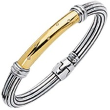 Phillip Gavriel - 0.05ctw. Diamond 18K Yellow Gold & Sterling Silver Oxidized 7.5