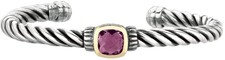 Phillip Gavriel - 18K Yellow Gold & Sterling Silver Oxidized Amethyst Twisted Cuff Bracelet