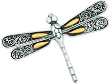 Phillip Gavriel - 18K Yellow Gold & Sterling Silver Oxidized Single Dragonfly Pendant