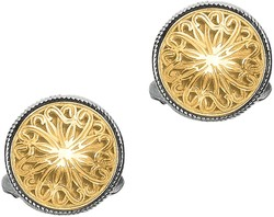 Phillip Gavriel - 18K Yellow Gold & Sterling Silver Shield Fleur De Lis Collection Cuff Links