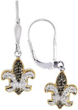 Phillip Gavriel - 18K Yellow Gold & Sterling Silver Black & White Sapphire Fleur De Lis Leverback Earrings