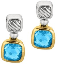Phillip Gavriel - 18K Yellow Gold & Sterling Silver Oxidized Blue Topaz Drop Earrings