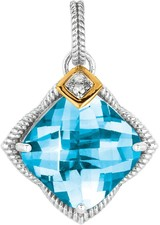Phillip Gavriel - 0.04ctw. Diamond & Blue Topaz 18K Yellow Gold & Sterling Silver Rock Candy Drop Earrings