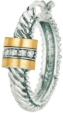 Phillip Gavriel - 0.10ctw. Diamond 18K Yellow Gold & Sterling Silver Oval Twisted Hoop Earrings w/ Barrel Diamond Center